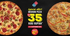 DOMINO'S PIZZA Special offer MEDIUM PIZZA, HEMAT HINGGA 42% – Harga mulai Rp.35.000