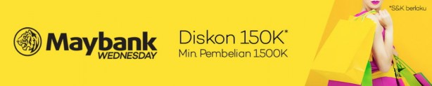 LAZADA.CO.ID Promo MAYBANK WEDNESDAY DEALS! sale hingga Rp.150.000 ,Khusus pengguna Kartu Kredit Bank Maybank Indonesia